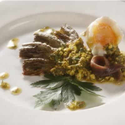 CAVOUR ARTICHOKES In parmesan crust