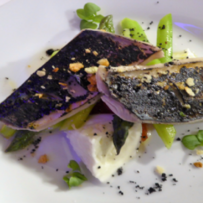 MACKEREL WITH WILD ASPARAGUS AND BUFFALO MOZZARELLA