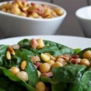 Mozzarella croccante & pancetta su letto di spinaci