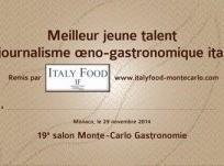 Les Jeunes Talents du journalisme oeno-gastronomique italien